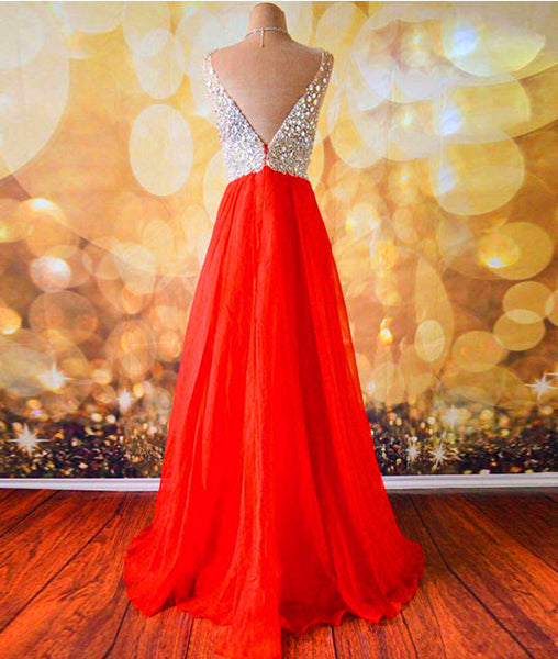 V Neck And V Back Sequins Chiffon Red Prom Dresses, Long Red Formal Dresses, Evening Dresses