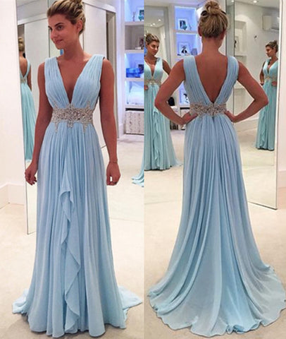 V Neck And V Back Sky Blue Prom Dresses, V Neck Sky Blue Formal Dresses