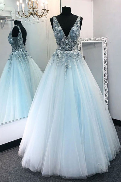 V Neck Appliques Blue Lace Long Prom Dress, Floral Blue Lace Formal Dress, Lace Blue Evening Dress, Ball Gown