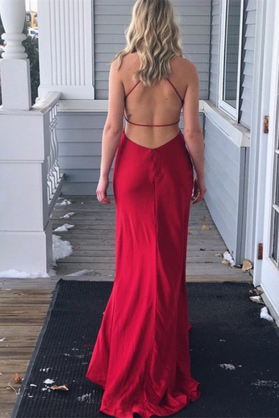 V Neck Backless Pleated Red Long Prom Dress 2020 with High Slit, Backless Red Formal Dress, Red Evening Dress, Party Dress