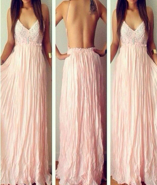 V Neck Chiffon Backless Long Lace Pink Prom Dresses Long Pink Lace