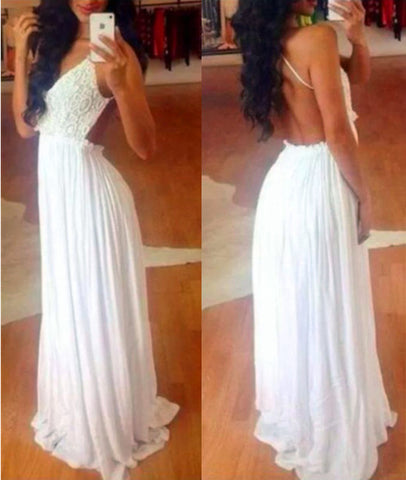 V Neck Chiffon Backless Long Lace White Prom Dresses, Long White Lace Formal Dresses