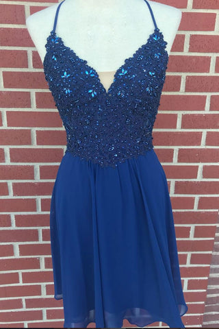 V Neck Lace Beaded Blue Homecoming Dresses Short Prom Dresses, Blue Lace Graduation Dresses, Blue Formal Dresses, Evening Dresses
