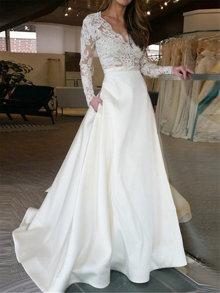 V Neck Long Sleeves Lace Appliques White Wedding Dresses Long Prom Dresses, White Lace Formal Dresses, Evening Dresses