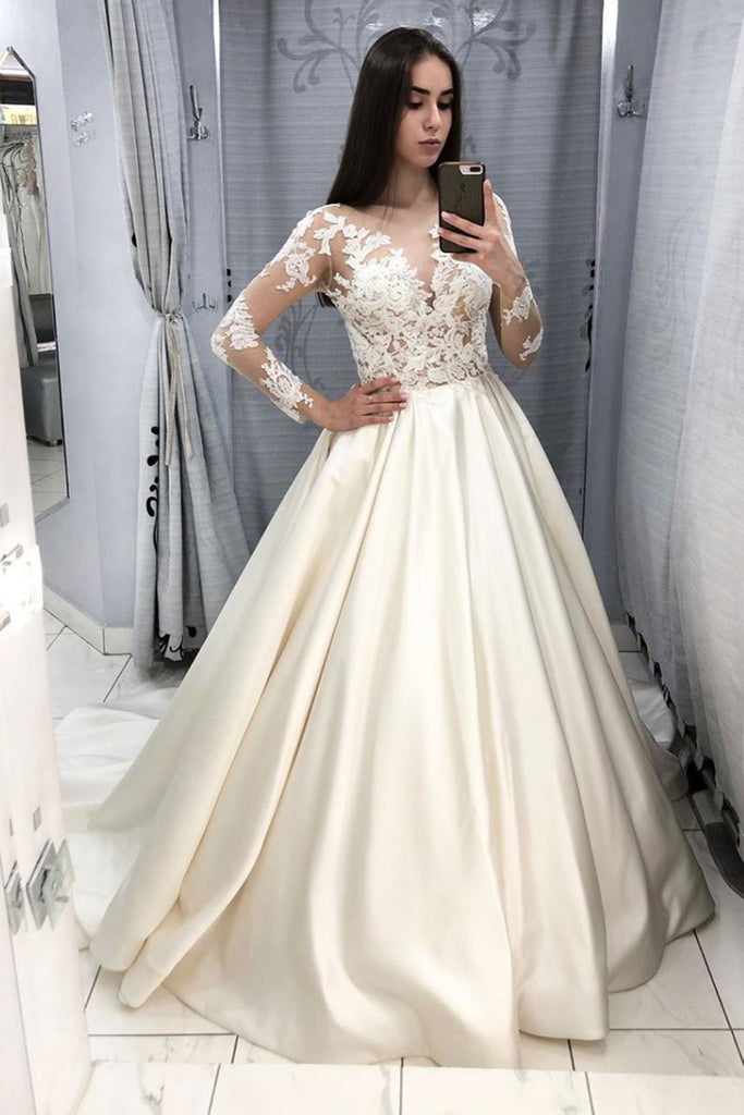 V Neck Long Sleeves Lace Ivory Long Prom Dresses Wedding Dresses, Long Sleeves Ivory Lace Formal Dresses, Ivory Lace Evening Dresses