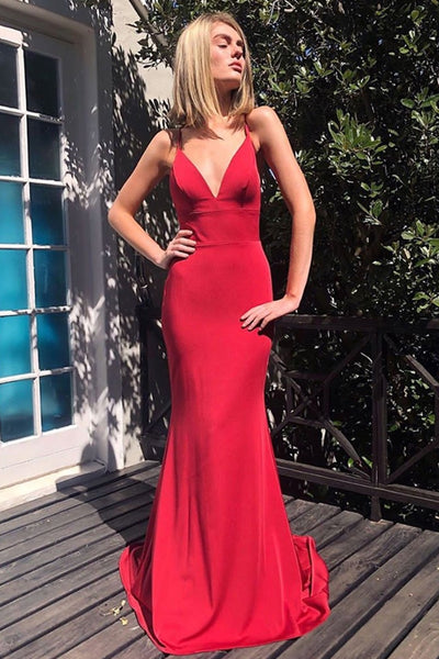 V Neck Mermaid Backless Red Long Prom Dress, Mermaid Backless Red Formal Graduation Evening Dress