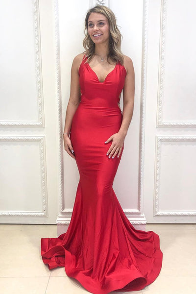 V Neck Mermaid Backless Red Long Prom Dress, Mermaid Red Formal Dress, Open Back Red Evening Dress