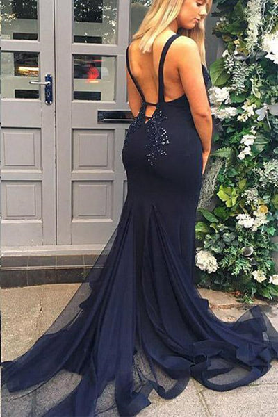 V Neck Mermaid Open Back Beaded Navy Blue Long Prom Dress, V Neck Mermaid Navy Blue Formal Dress, Mermaid Navy Blue Evening Dress
