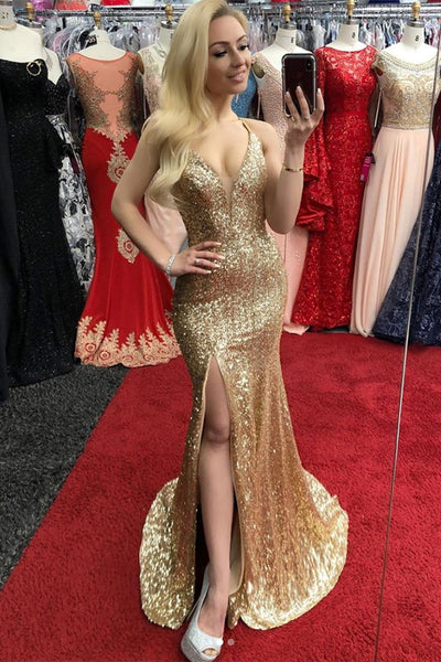 V Neck Mermaid Sequins Golden Prom Dresses with Side Slit, Mermaid Golden Formal Dresses, Golden Evening Dresses
