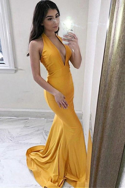 V Neck Mermaid Yellow Satin Long Prom Dress, V Neck Mermaid Yellow Formal Dress, Yellow Mermaid Evening Dress