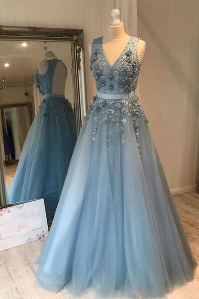 V Neck Open Back Beaded Blue Long Prom Dress with 3D Flowers, Open Back Blue Formal Graduation Evening Dress
