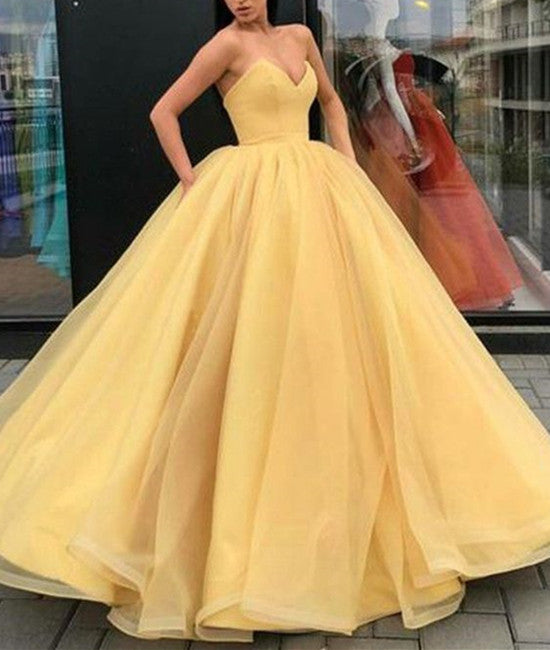 86e5528b899 V Neck Sleeveless Yellow Organza Ball Gown, Yellow Prom Dress, Yellow  Formal Dresses