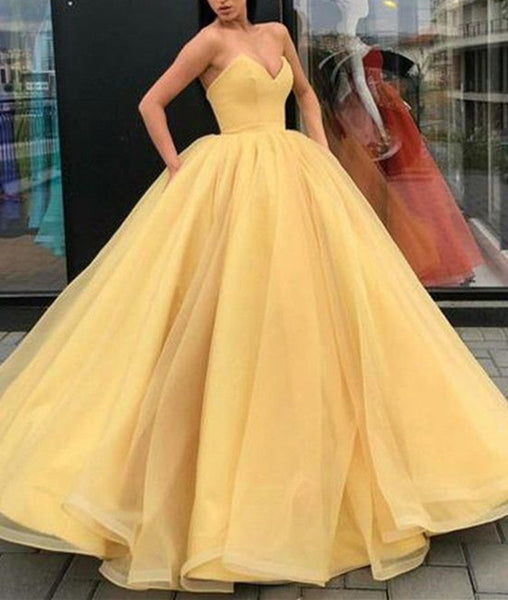 V Neck Sleeveless Yellow Organza Ball Gown, Yellow Prom Dress, Yellow Formal Dresses