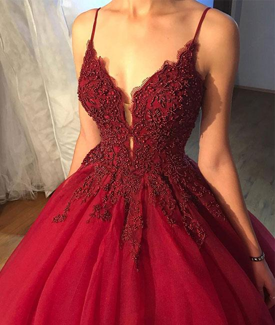 V Neck Tulle Burgundy Prom Dress With Beads Burgundy Lace Evening