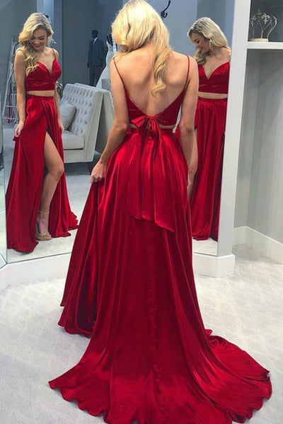 V Neck Two Pieces Red Satin Long Prom Dress with Split, Two Pieces V Neck Red Formal Dress, Two Pieces Red Evening Dress