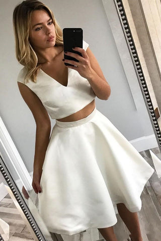 V Neck Two Pieces White Short Prom Dresses, Two Pieces White Homecoming Dresses, White Cocktail Dresses, Two Pieces White Formal Dresses
