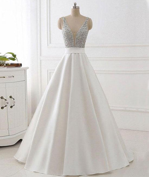 V Neck White Prom Dress With Beads, V Neck Formal Dress, White Evening Dress