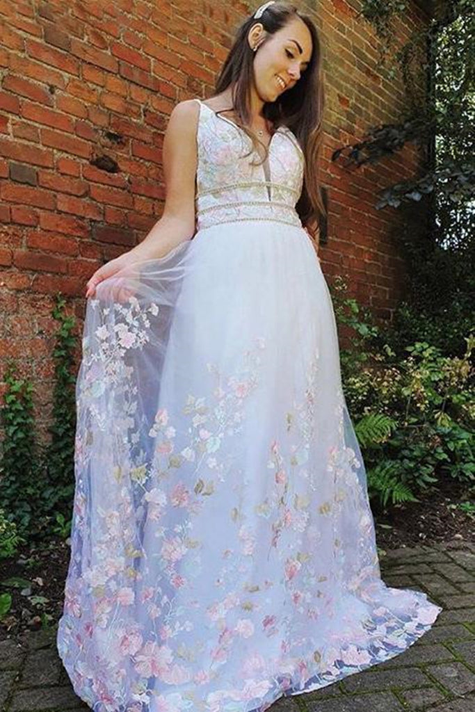 White A Line V Neck Long Lace Floral Prom Dress, Floral White Formal Graduation Evening Dress