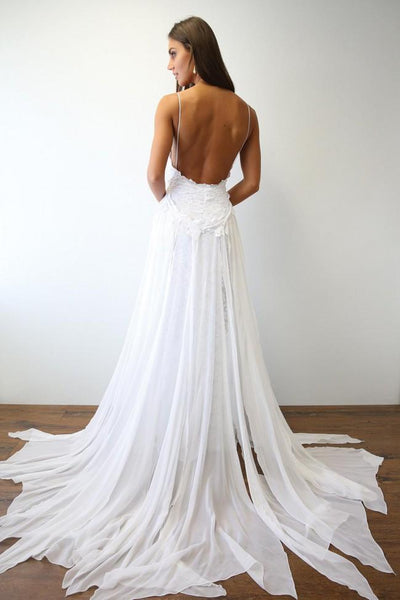 White Backless Tulle Lace Prom Dress, White Wedding Dress, Backless Evening Dress