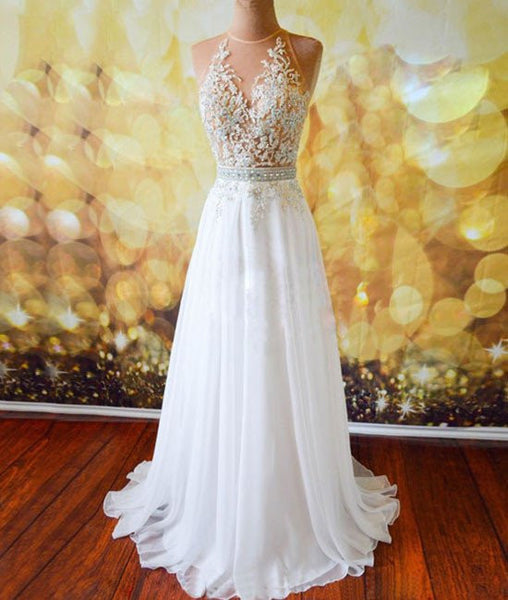 White Chiffon Tulle Appliques Lace Sweep Train Sexy Open Back Prom Dresses, Lace Formal Dresses