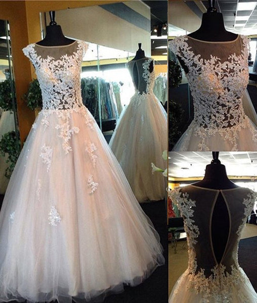 White Lace Prom Gown, A-Line Tulle See Through Prom Dresses, Formal Dresses