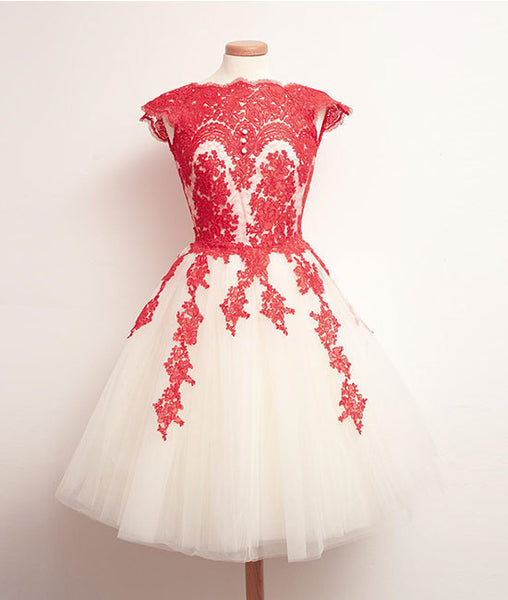 White Tulle Short Red Lace Prom Dresses, Short Red Lace Homecoming Dresses