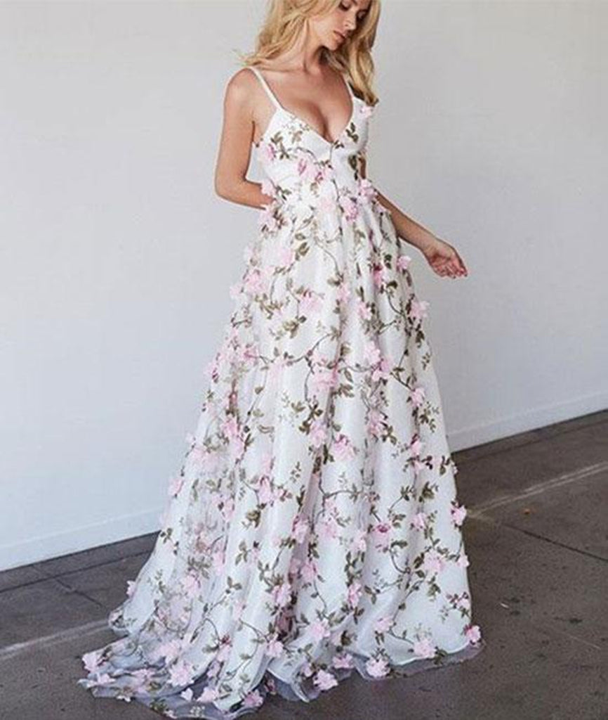 White V Neck 3D Flower Applique Long Prom Dress, V Neck White Formal Dress, White Graduation Dress
