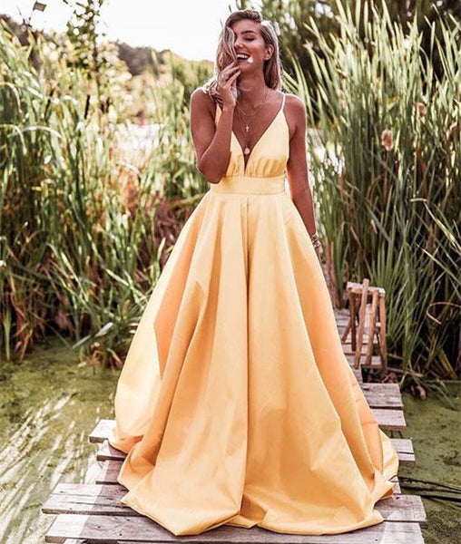 Yellow A Line V Neck Satin Long Prom Dress, Yellow V Neck Graduation Dress, Yellow Evening Dress
