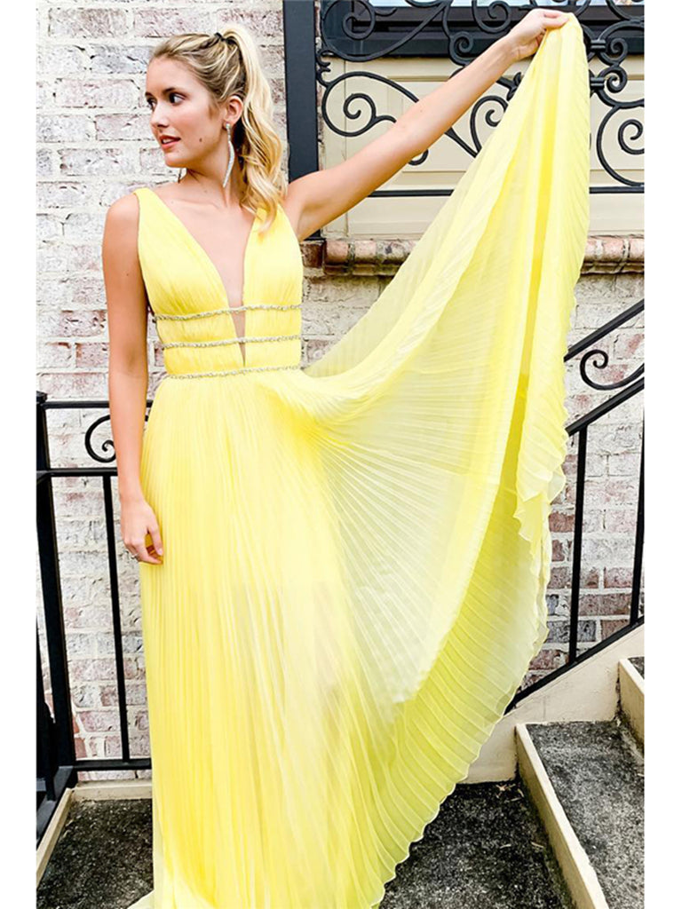 Yellow A Line V Neck and V Back Ruched Long Prom Dresses, Charming Yellow Formal Dresses, Evening Dresses