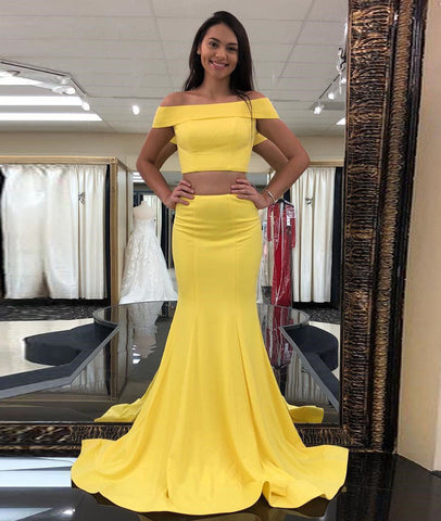 Yellow Off Shoulder Two Pieces Mermaid Long Prom Dresses, Yellow Mermaid Evening Dresses Formal Dresses, Yellow Graduation Dresses
