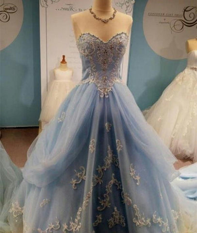 A-Line Floor-Length Prom Dresses, Sweetheart Prom Dresses, Charming Evening Dresses