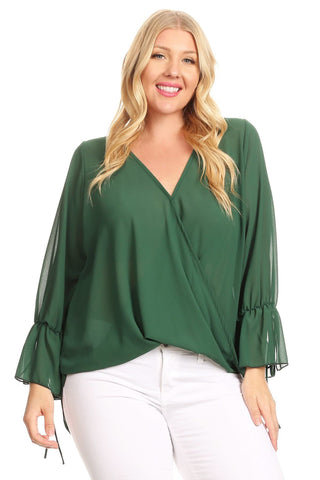 Wrapped Tunic Top With Bell Sleeves And Hi-Low Hem