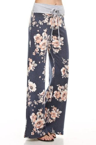 Floral Drawstring Lounge Pants With Wide Leg And Drawstring Waistband