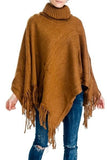 Super Soft Like Cashmere Fringed Cowl Neck Poncho