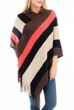 Wide Stripe Asymmetrical V-Neck Throw Over Poncho