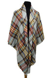 Plaid Pattern Oversized Poncho Style Shawl
