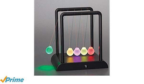 Bonzeal Science Geek Newton'S Kinetic Energy Multi-Color Light Up Cradle W/ Led Glass Balls And