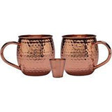 Melange 24 Oz Antique Finish Copper Barrel Mug For Moscow Mules, Set Of 2 With One Shot Glass - 100%