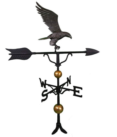 Montague Metal Products 52-Inch Deluxe Weathervane With Full Bodied Black Eagle Ornament