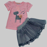 Toddler Girl's Tutu Set With Cute Kitten Shirt