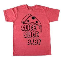 Men'S Pizza T-Shirt - Slice Slice Baby - Funny Food Shirt - Bad Pickle Tees