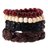 4 Pcs/set Vintage Hemp Rope, Genuine Woven Leather, and Handmade Beaded Bracelets for Men