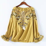 Floral Embroidery Lace-up O-neck Blouse with Floral Embroidery