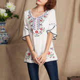 Boho Floral Embroidered Blouse