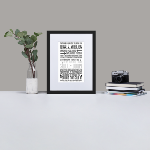 "Motivational Quote Poster ""Core Strength"" - Framed With Premium Mat (30 cm x 40 cm) - Pretty Crazy Co."