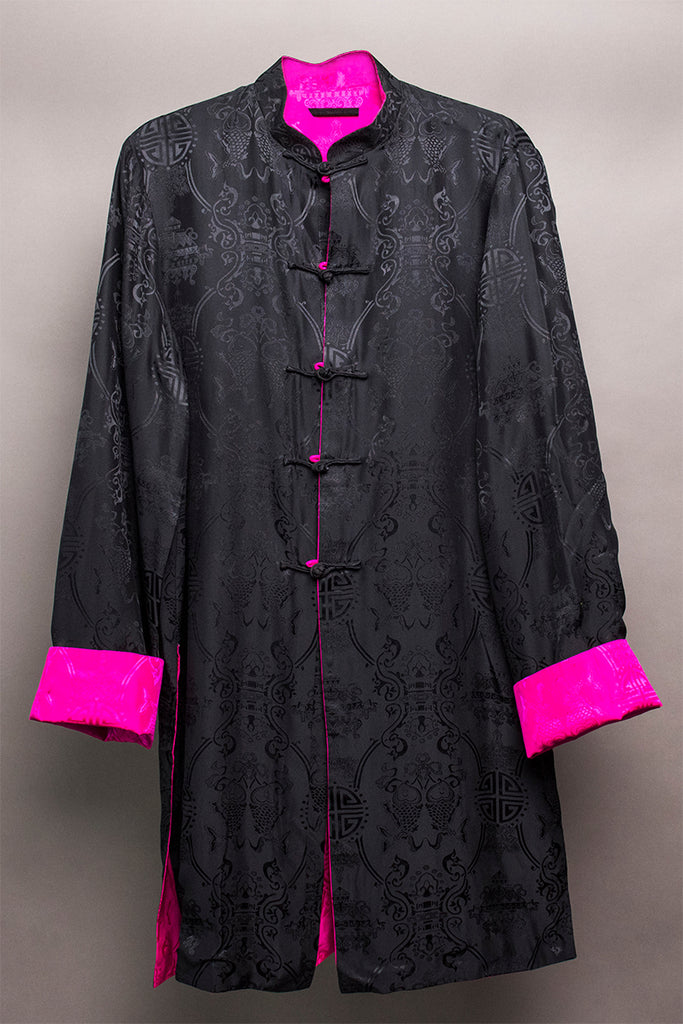 Carole Fraser Three-Quarter Length Reversible Silk Jacket in Black and Pink