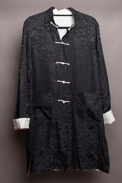 Carole Fraser Three-Quarter Length Reversible Silk Jacket in Black and White
