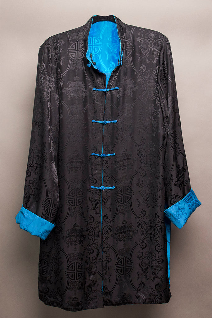 Carole Fraser Three-Quarter Length Reversible Silk Jacket in Black and Blue