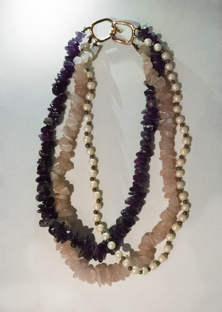 Amethyst, rose quartz, and pearl beaded multi-chain necklace