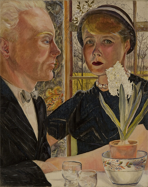 At the Cafe: Lawrence and Sylvia at Blackheath Park, Sylvia Sleigh, Oil on Canvas, 1950